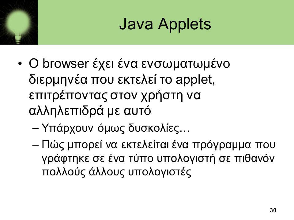 30 Java Applets •O browser έχει ένα ενσωματωμένο διερμηνέα που εκτελεί το applet, επιτρέποντας στον χρήστη να αλληλεπιδρά με αυτό –Υπάρχουν όμως δυσκο