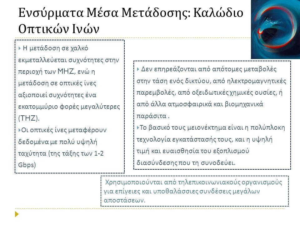 Ενσύρματα Μέσα Μετάδοσης : Καλώδιο Οπτικών Ινών  Η μετάδοση σε χαλκό εκμεταλλεύεται συχνότητες στην περιοχή των MHZ, ενώ η μετάδοση σε οπτικές ίνες αξιοποιεί συχνότητες ένα εκατομμύριο φορές μεγαλύτερες (THZ).