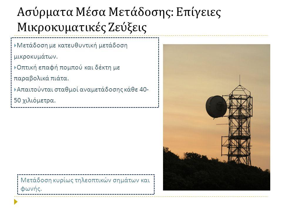 Ασύρματα Μέσα Μετάδοσης  Βασικό πλεονέκτημα : δεν χρειάζεται φυσική / υλική σύνδεση πομπού και δέκτη αφού ως μέσο μετάδοσης χρησιμοποιείται ο ελεύθερος χώρος.
