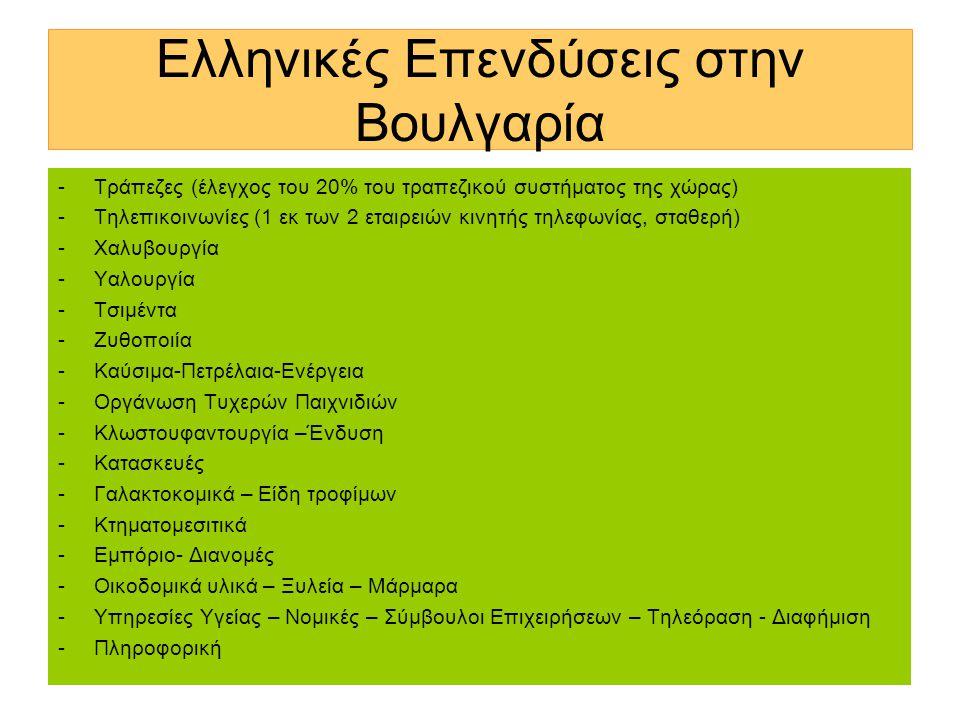 Ελληνικές Επενδύσεις στην Βουλγαρία -Τράπεζες (έλεγχος του 20% του τραπεζικού συστήματος της χώρας) -Τηλεπικοινωνίες (1 εκ των 2 εταιρειών κινητής τηλεφωνίας, σταθερή) -Χαλυβουργία -Υαλουργία -Τσιμέντα -Ζυθοποιία -Καύσιμα-Πετρέλαια-Ενέργεια -Οργάνωση Τυχερών Παιχνιδιών -Κλωστουφαντουργία –Ένδυση -Κατασκευές -Γαλακτοκομικά – Είδη τροφίμων -Κτηματομεσιτικά -Εμπόριο- Διανομές -Οικοδομικά υλικά – Ξυλεία – Μάρμαρα -Υπηρεσίες Υγείας – Νομικές – Σύμβουλοι Επιχειρήσεων – Τηλεόραση - Διαφήμιση -Πληροφορική