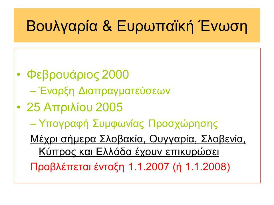 Βουλγαρία & Ευρωπαϊκή Ένωση •Φεβρουάριος 2000 –Έναρξη Διαπραγματεύσεων •25 Απριλίου 2005 –Υπογραφή Συμφωνίας Προσχώρησης Μέχρι σήμερα Σλοβακία, Ουγγαρία, Σλοβενία, Κύπρος και Ελλάδα έχουν επικυρώσει Προβλέπεται ένταξη 1.1.2007 (ή 1.1.2008)
