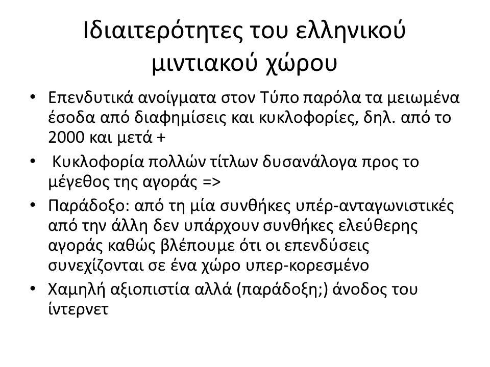 Ιδιαιτερότητες του ελληνικού μιντιακού χώρου • Επενδυτικά ανοίγματα στον Τύπο παρόλα τα μειωμένα έσοδα από διαφημίσεις και κυκλοφορίες, δηλ. από το 20