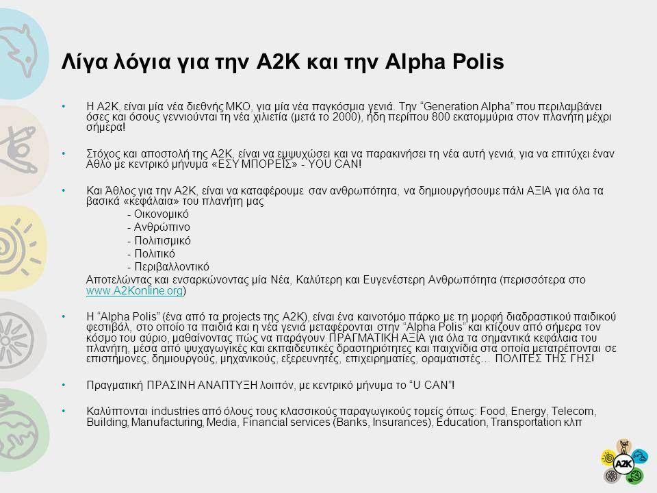 """Λίγα λόγια για την Α2Κ και την Alpha Polis •Η Α2Κ, είναι μία νέα διεθνής ΜΚΟ, για μία νέα παγκόσμια γενιά. Την """"Generation Alpha"""" που περιλαμβάνει όσε"""