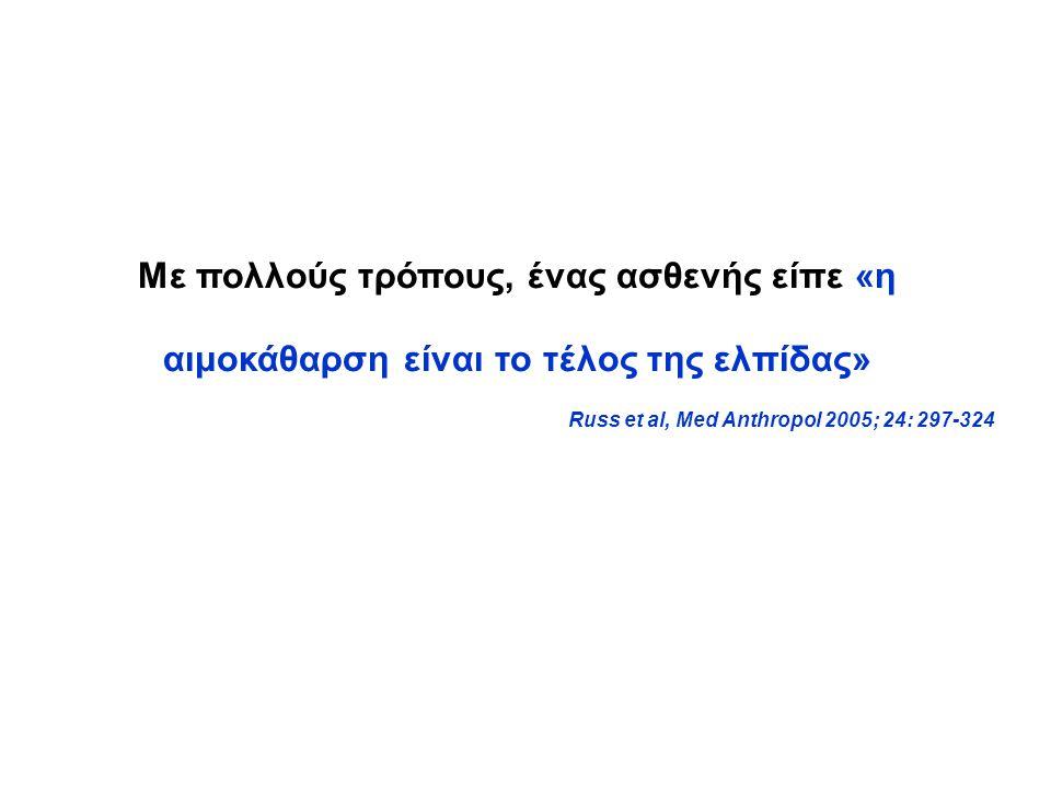 Με πολλούς τρόπους, ένας ασθενής είπε «η αιμοκάθαρση είναι το τέλος της ελπίδας» Russ et al, Med Anthropol 2005; 24: 297-324