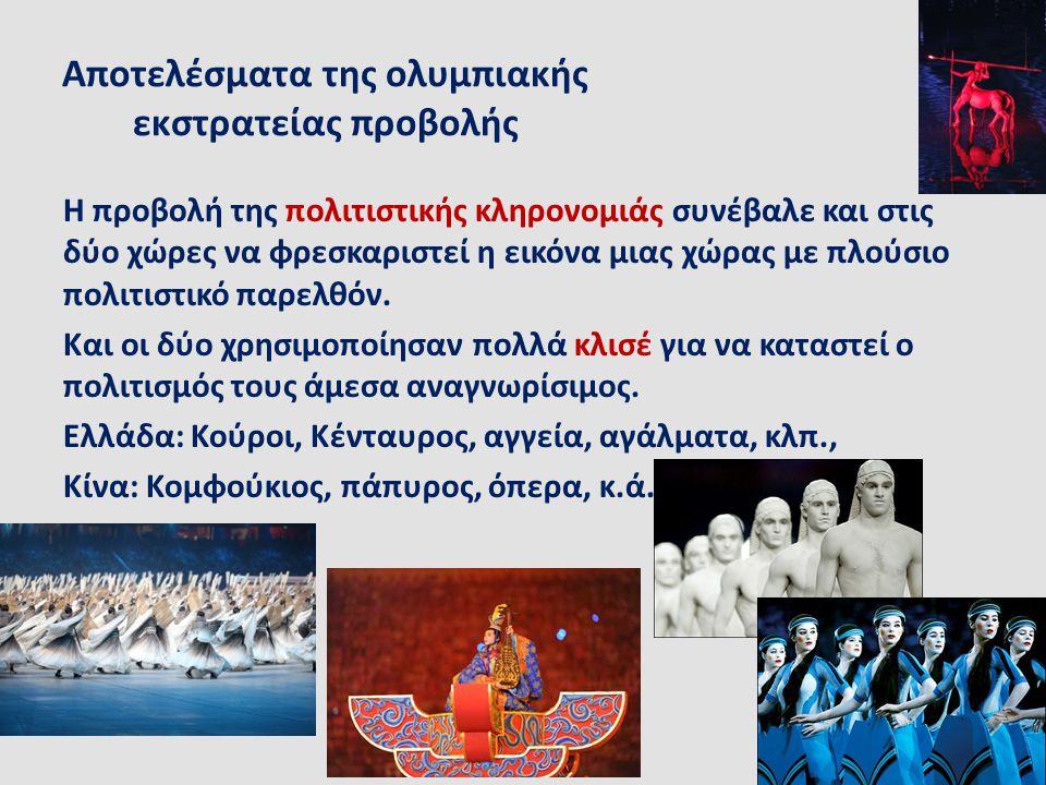 Αποτελέσματα της ολυμπιακής εκστρατείας προβολής Η προβολή της πολιτιστικής κληρονομιάς συνέβαλε και στις δύο χώρες να φρεσκαριστεί η εικόνα μιας χώρα