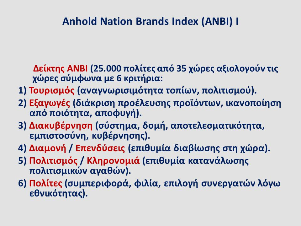 Anhold Nation Brands Index (ANBI) IΙ Το 2007 η Ελλάδα κατετάγη 17 η και η Κίνα 23 η.