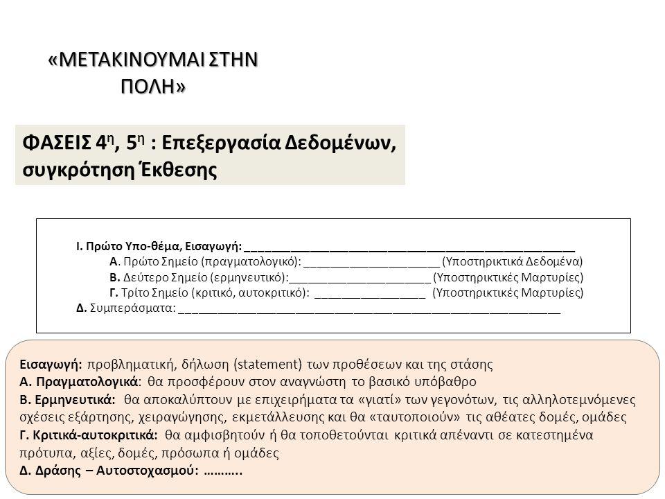 Από το θέμα στην «προβληματική», τα υποθέματα, τον προγραμματισμό των ομάδων και τα ερευνητικά ερωτήματα Από τα Ερευνητικά Ερωτήματα στις πηγές, τα εργαλεία και τις μεθόδους και στις Ερευνητικές Δραστηριότητες Δημιουργία του περιγράμματος της έκθεσης και ταυτόχρονα επεξεργασία των δεδομένων και σύνθεση αρχικών κειμένων Διόρθωση κειμένων, προετοιμασία προφορικής ανακοίνωσης Κριτικός αναστοχασμός του εγχειρήματος, τελική διόρθωση των κειμένων και της προφορικής ανακοίνωσης ΧΡΟΝΟΔΙΑΓΡΑΜΜΑ ΕΞΕΛΙΞΗΣ (ΔΕΚΑ ΤΕΣΣΕΡΙΣ ΕΒΔΟΜΑΔΕΣ) 1η2η3η4η5η6η7η1η2η3η4η5η6η7η 8 η 9 η 10 η 11 η 12 η 13 η 14 η