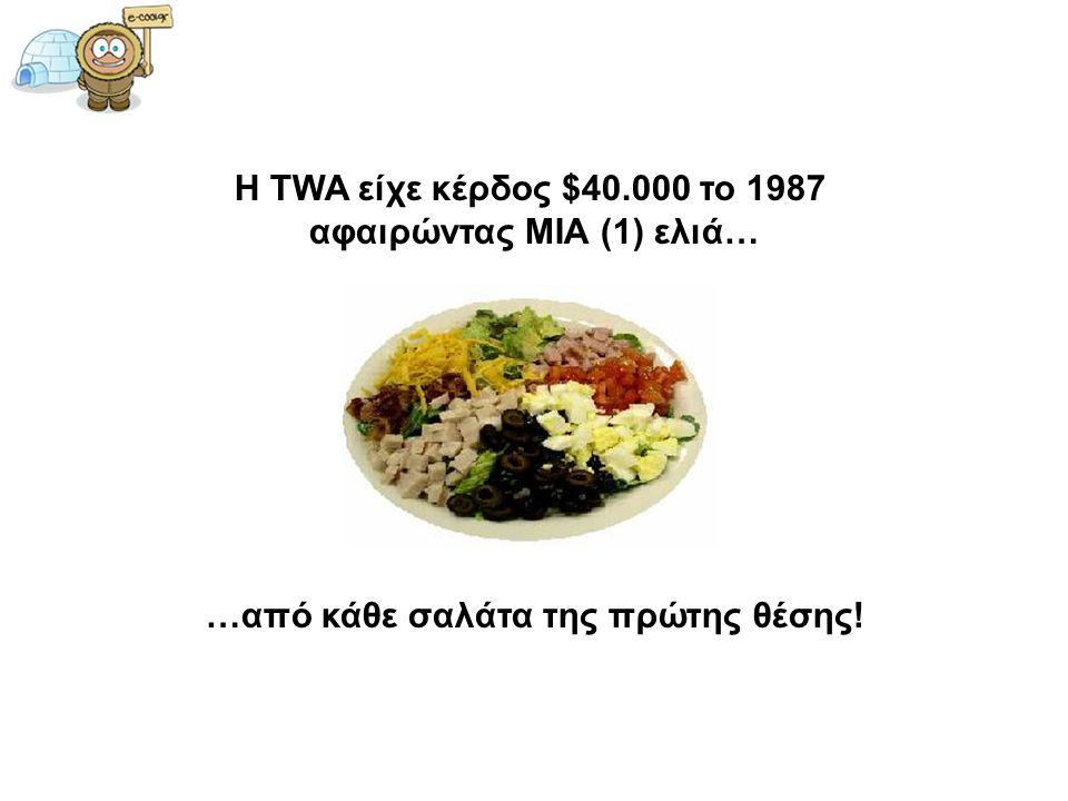 Η TWA είχε κέρδος $40.000 το 1987 αφαιρώντας ΜΙΑ (1) ελιά… …από κάθε σαλάτα της πρώτης θέσης!