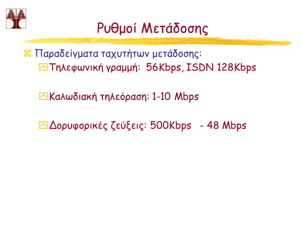 Ρυθμοί Μετάδοσης zΠαραδείγματα ταχυτήτων μετάδοσης: yΤηλεφωνική γραμμή: 56Kbps, ISDN 128Kbps yΚαλωδιακή τηλεόραση: 1-10 Mbps yΔορυφορικές ζεύξεις: 500Kbps - 48 Mbps