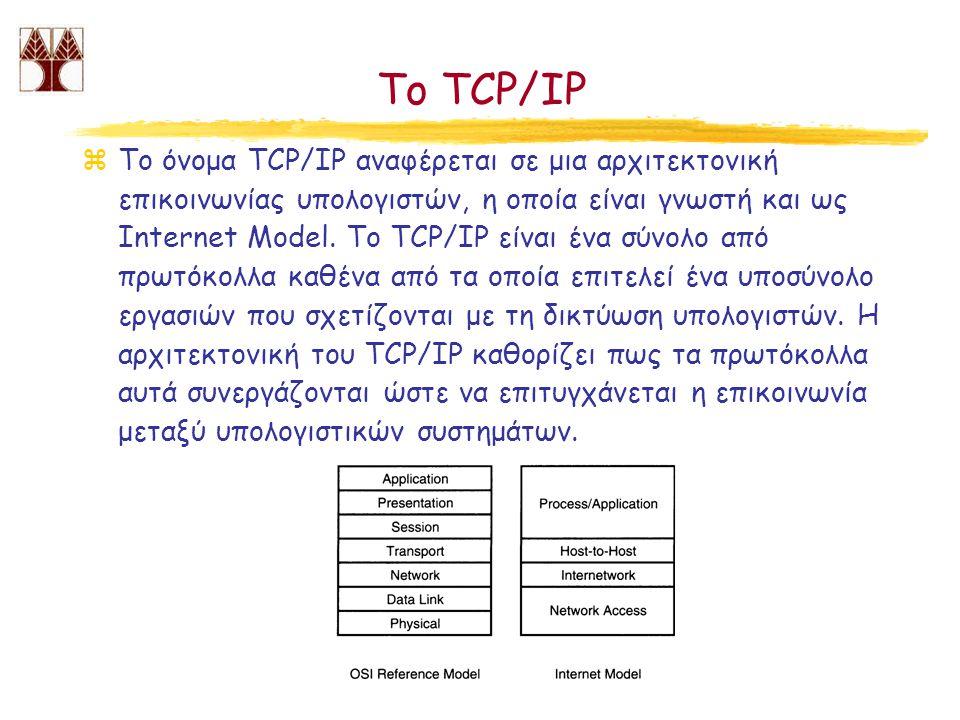 Το TCP/IP zΤο όνομα TCP/IP αναφέρεται σε μια αρχιτεκτονική επικοινωνίας υπολογιστών, η οποία είναι γνωστή και ως Internet Model. Tο TCP/IP είναι ένα σ
