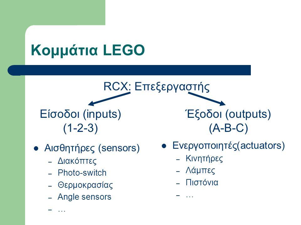 Κομμάτια LEGO  Αισθητήρες (sensors) – Διακόπτες – Photo-switch – Θερμοκρασίας – Angle sensors –…–… RCX: Επεξεργαστής Είσοδοι (inputs) (1-2-3) Έξοδοι (outputs) (A-B-C)  Ενεργοποιητές(actuators) – Κινητήρες – Λάμπες – Πιστόνια – …
