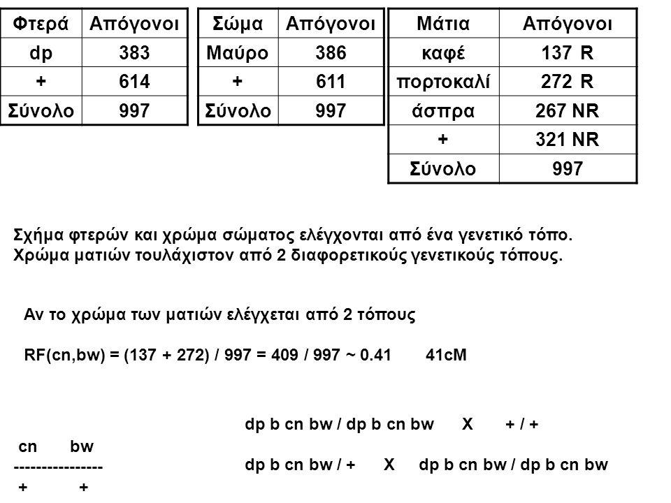 ΦτεράΑπόγονοι dp383 +614 Σύνολο997 ΣώμαΑπόγονοι Μαύρο386 +611 Σύνολο997 ΜάτιαΑπόγονοι καφέ137R πορτοκαλί272R άσπρα267 NR +321 NR Σύνολο997 Σχήμα φτερώ