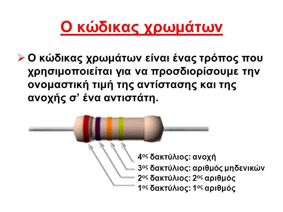 Ο κώδικας χρωμάτων ΟΟ κώδικας χρωμάτων είναι ένας τρόπος που χρησιμοποιείται για να προσδιορίσουμε την ονομαστική τιμή της αντίστασης και της ανοχής σ' ένα αντιστάτη.