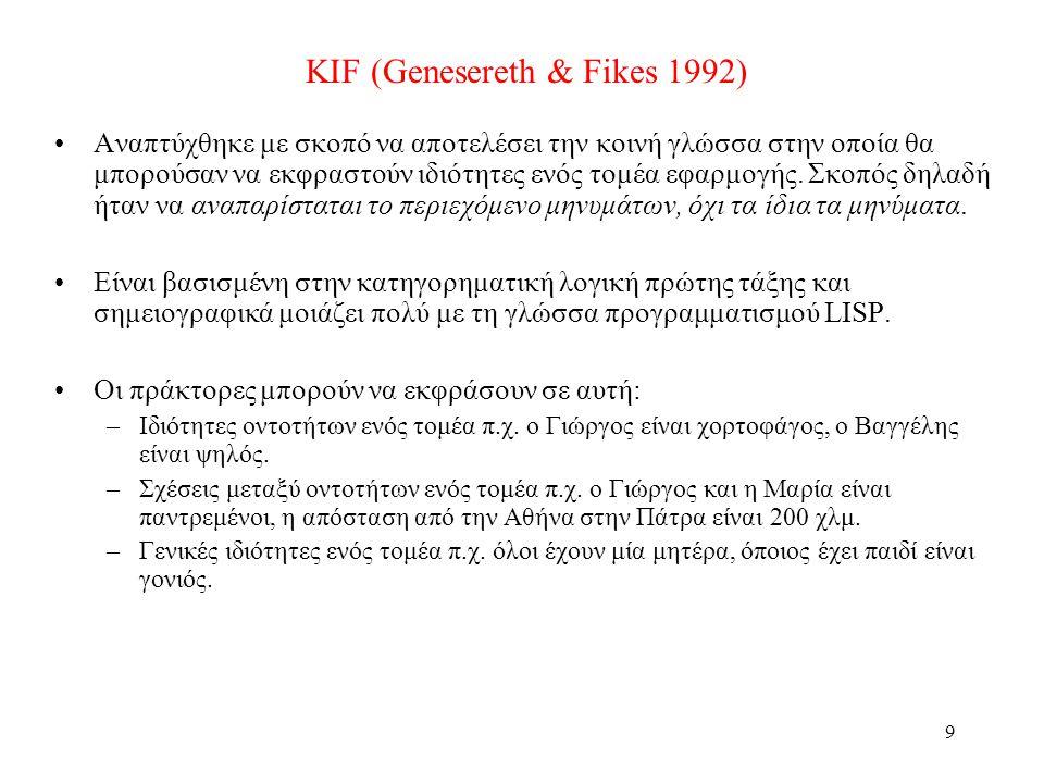 9 KIF (Genesereth & Fikes 1992) •Αναπτύχθηκε με σκοπό να αποτελέσει την κοινή γλώσσα στην οποία θα μπορούσαν να εκφραστούν ιδιότητες ενός τομέα εφαρμογής.