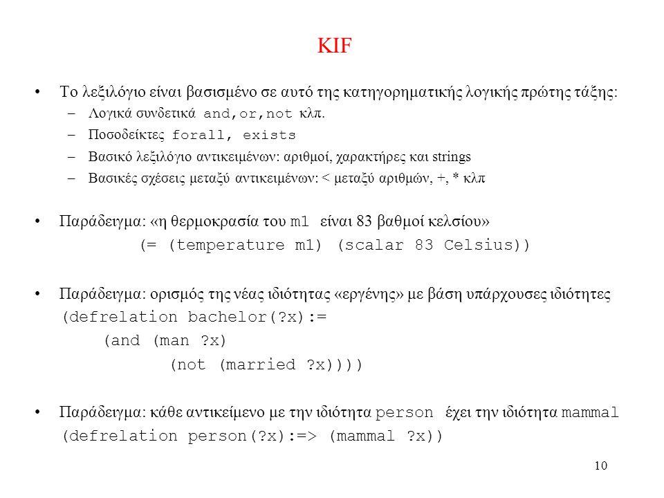10 KIF •Το λεξιλόγιο είναι βασισμένο σε αυτό της κατηγορηματικής λογικής πρώτης τάξης: –Λογικά συνδετικά and,or,not κλπ.
