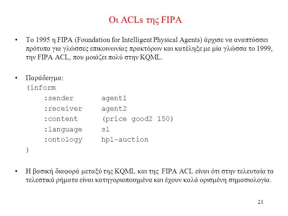 21 Οι ACLs της FIPA •Το 1995 η FIPA (Foundation for Intelligent Physical Agents) άρχισε να αναπτύσσει πρότυπα για γλώσσες επικοινωνίας πρακτόρων και κατέληξε με μία γλώσσα το 1999, την FIPA ACL, που μοιάζει πολύ στην KQML.