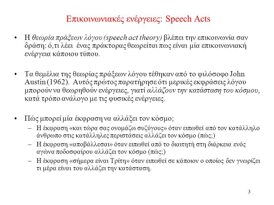 3 Επικοινωνιακές ενέργειες: Speech Acts •Η θεωρία πράξεων λόγου (speech act theory) βλέπει την επικοινωνία σαν δράση: ό,τι λέει ένας πράκτορας θεωρείται πως είναι μία επικοινωνιακή ενέργεια κάποιου τύπου.