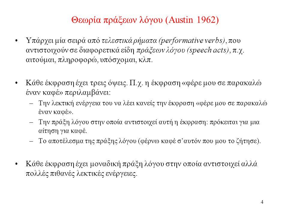 4 Θεωρία πράξεων λόγου (Austin 1962) •Υπάρχει μία σειρά από τελεστικά ρήματα (performative verbs), που αντιστοιχούν σε διαφορετικά είδη πράξεων λόγου (speech acts), π.χ.