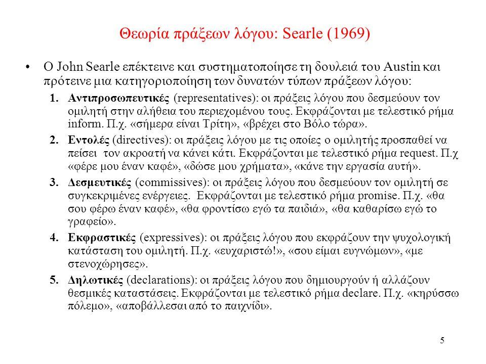 5 Θεωρία πράξεων λόγου: Searle (1969) •O John Searle επέκτεινε και συστηματοποίησε τη δουλειά του Austin και πρότεινε μια κατηγοριοποίηση των δυνατών τύπων πράξεων λόγου: 1.Αντιπροσωπευτικές (representatives): οι πράξεις λόγου που δεσμεύουν τον ομιλητή στην αλήθεια του περιεχομένου τους.