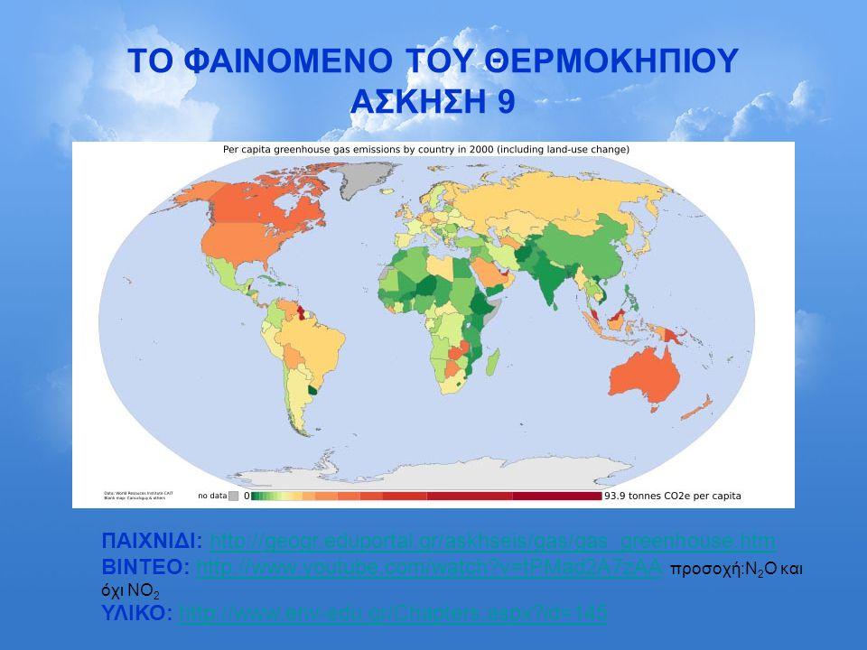 ΤΟ ΦΑΙΝΟΜΕΝΟ ΤΟΥ ΘΕΡΜΟΚΗΠΙΟΥ ΑΣΚΗΣΗ 9 ΠΑΙΧΝΙΔΙ: http://geogr.eduportal.gr/askhseis/gas/gas_greenhouse.htmhttp://geogr.eduportal.gr/askhseis/gas/gas_gr