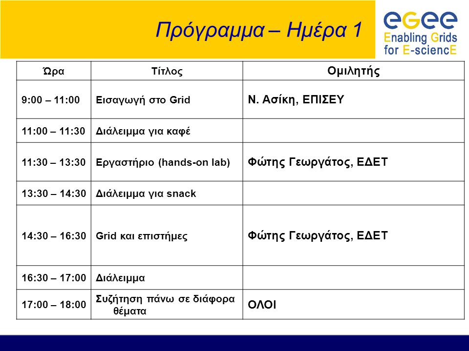 Πρόγραμμα – Ημέρα 1 ΏραΤίτλος Ομιλητής 9:00 – 11:00Εισαγωγή στο Grid Ν.