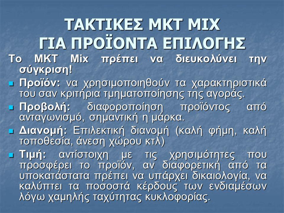 ΤΑΚΤΙΚΕΣ ΜΚΤ MIX ΓΙΑ ΠΡΟΪΟΝΤΑ ΕΠΙΛΟΓΗΣ Το ΜΚΤ Mix πρέπει να διευκολύνει την σύγκριση!  Προϊόν: να χρησιμοποιηθούν τα χαρακτηριστικά του σαν κριτήρια