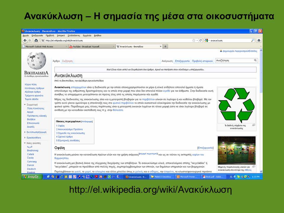 Ανακύκλωση – Η σημασία της μέσα στα οικοσυστήματα http://el.wikipedia.org/wiki/Ανακύκλωση