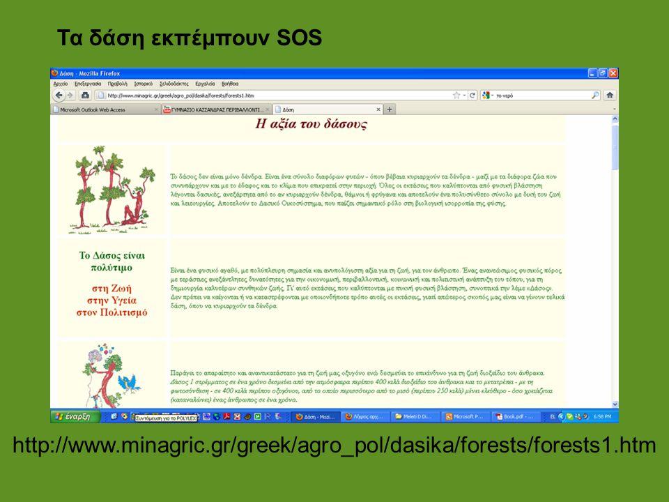 http://www.minagric.gr/greek/agro_pol/dasika/forests/forests1.htm Τα δάση εκπέμπουν SOS
