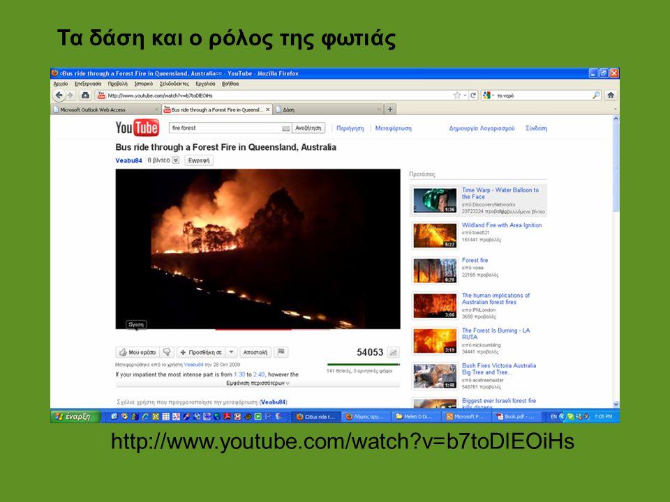 Τα δάση και ο ρόλος της φωτιάς http://www.youtube.com/watch?v=b7toDlEOiHs