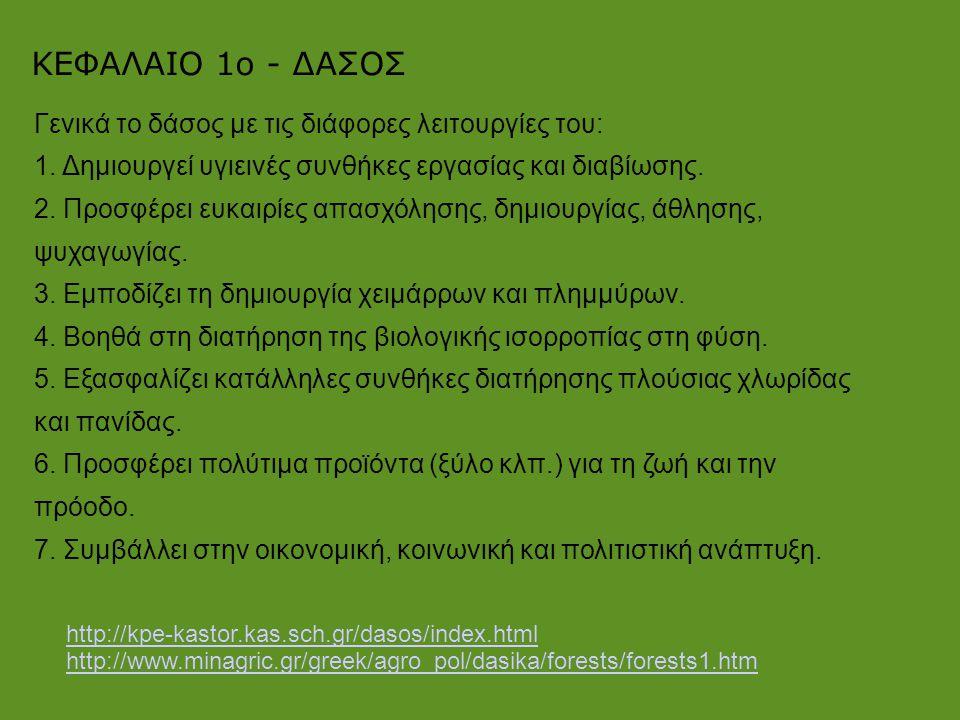 http://kpe-kastor.kas.sch.gr/dasos/index.html http://www.minagric.gr/greek/agro_pol/dasika/forests/forests1.htm ΚΕΦΑΛΑΙΟ 1ο - ΔΑΣΟΣ Γενικά το δάσος με