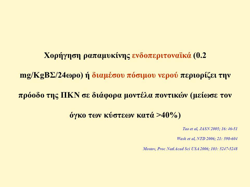 Χορήγηση ραπαμυκίνης ενδοπεριτοναϊκά (0.2 mg/KgΒΣ/24ωρο) ή διαμέσου πόσιμου νερού περιορίζει την πρόοδο της ΠΚΝ σε διάφορα μοντέλα ποντικών (μείωσε τον όγκο των κύστεων κατά >40%) Tao et al, JASN 2005; 16: 46-51 Wash et al, NTD 2006; 21: 598-604 Mostov, Proc Natl Acad Sci USA 2006; 103: 5247-5248