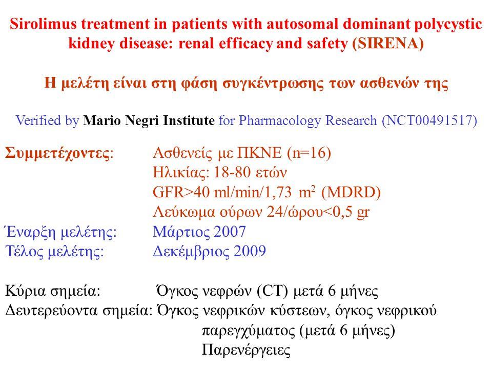 Sirolimus treatment in patients with autosomal dominant polycystic kidney disease: renal efficacy and safety (SIRENA) Η μελέτη είναι στη φάση συγκέντρωσης των ασθενών της Verified by Mario Negri Institute for Pharmacology Research (NCT00491517) Συμμετέχοντες:Ασθενείς με ΠΚΝΕ (n=16) Ηλικίας: 18-80 ετών GFR>40 ml/min/1,73 m 2 (MDRD) Λεύκωμα ούρων 24/ώρου<0,5 gr Έναρξη μελέτης: Μάρτιος 2007 Τέλος μελέτης: Δεκέμβριος 2009 Κύρια σημεία: Όγκος νεφρών (CT) μετά 6 μήνες Δευτερεύοντα σημεία: Όγκος νεφρικών κύστεων, όγκος νεφρικού παρεγχύματος (μετά 6 μήνες) Παρενέργειες