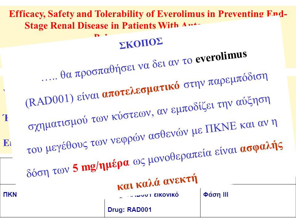 Efficacy, Safety and Tolerability of Everolimus in Preventing End- Stage Renal Disease in Patients With Autosomal Dominant Polycystic Kidney Disease Η μελέτη είναι στη φάση συγκέντρωσης των ασθενών της Verified by Novartis, December 2008 (NCT00414440) ΝόσοςΠαρέμβασηΦάση ΠΚΝΕDrug: RAD001 εικονικό Drug: RAD001 Φάση III Υπολογιζόμενοι συμμετέχοντες: 400 Έναρξη μελέτης: Δεκέμβριος 2006 Εκτιμώμενο τέλος μελέτης: Δεκέμβριος 2009 ΣΚΟΠΟΣ …..