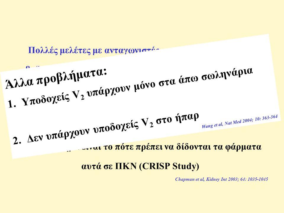 Πολλές μελέτες με ανταγωνιστές των V 2 υποδοχέων της βαζοπρεσσίνης σε ΠΚΝΕ είναι σε φάση ΙΙ ή ΙΙΙ, όπου δεν διαπιστώθηκαν παρενέργειες (μόνο η αναμενόμενη πολυουρία και η δίψα) Ένα πρόβλημα είναι το πότε πρέπει να δίδονται τα φάρματα αυτά σε ΠΚΝ (CRISP Study) Chapman et al, Kidney Int 2003; 64: 1035-1045 Άλλα προβλήματα: 1.Υποδοχείς V 2 υπάρχουν μόνο στα άπω σωληνάρια 2.Δεν υπάρχουν υποδοχείς V 2 στο ήπαρ Wang et al, Nat Med 2004; 10: 363-364