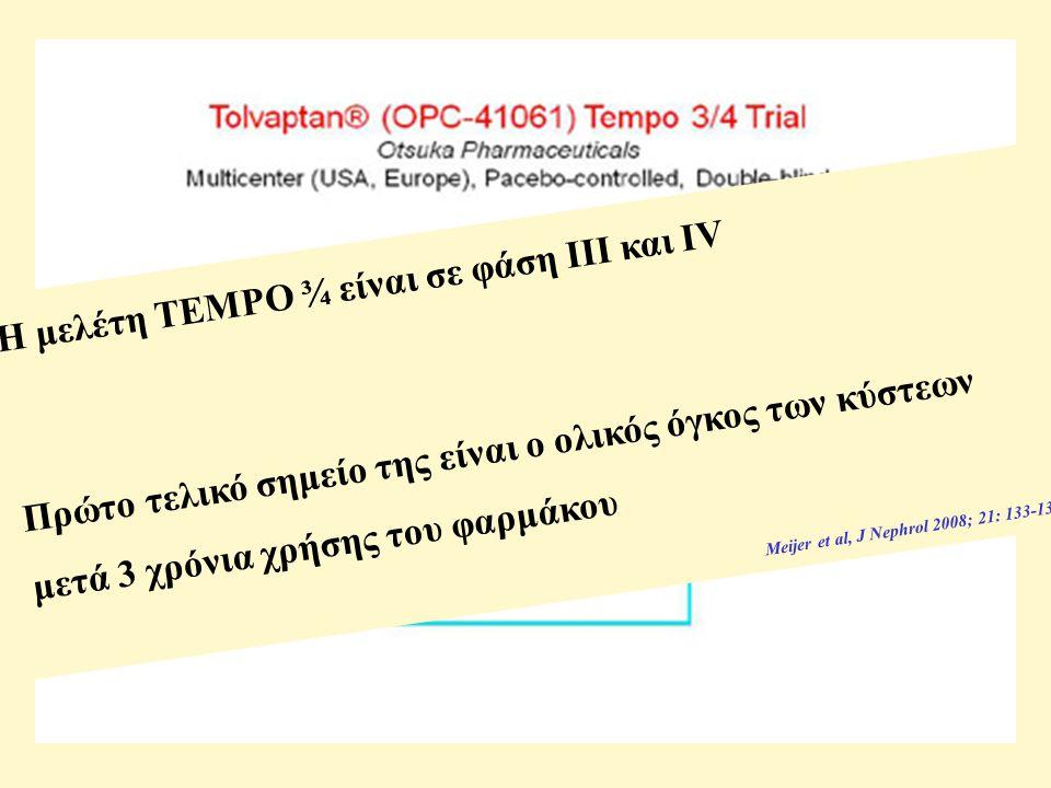 Η μελέτη TEMPO ¾ είναι σε φάση ΙΙΙ και IV Πρώτο τελικό σημείο της είναι ο ολικός όγκος των κύστεων μετά 3 χρόνια χρήσης του φαρμάκου Meijer et al, J Nephrol 2008; 21: 133-138