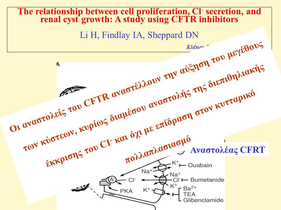 The relationship between cell proliferation, Cl - secretion, and renal cyst growth: A study using CFTR inhibitors Li H, Findlay IA, Sheppard DN Kidney Int 2004; 66: 1926-1938 Αναστολέας CFRT Οι αναστολείς του CFTR αναστέλλουν την αύξηση του μεγέθους των κύστεων, κυρίως διαμέσου αναστολής της διεπιθηλιακής έκκρισης του CI - και όχι με επίδραση στον κυτταρικό πολλαπλασιασμό
