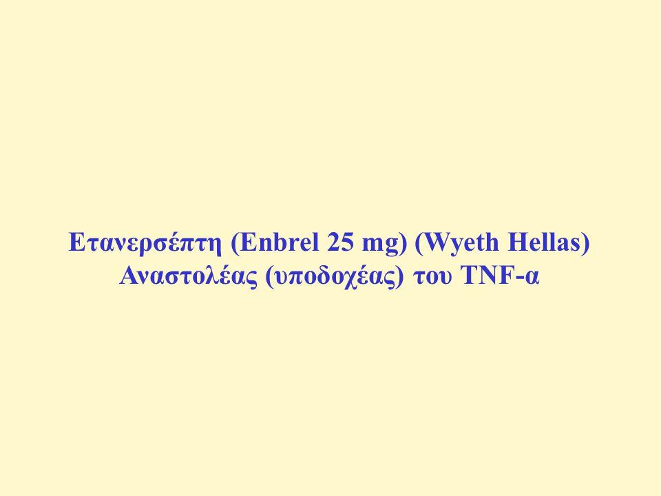 Ετανερσέπτη (Enbrel 25 mg) (Wyeth Hellas) Αναστολέας (υποδοχέας) του TNF-α
