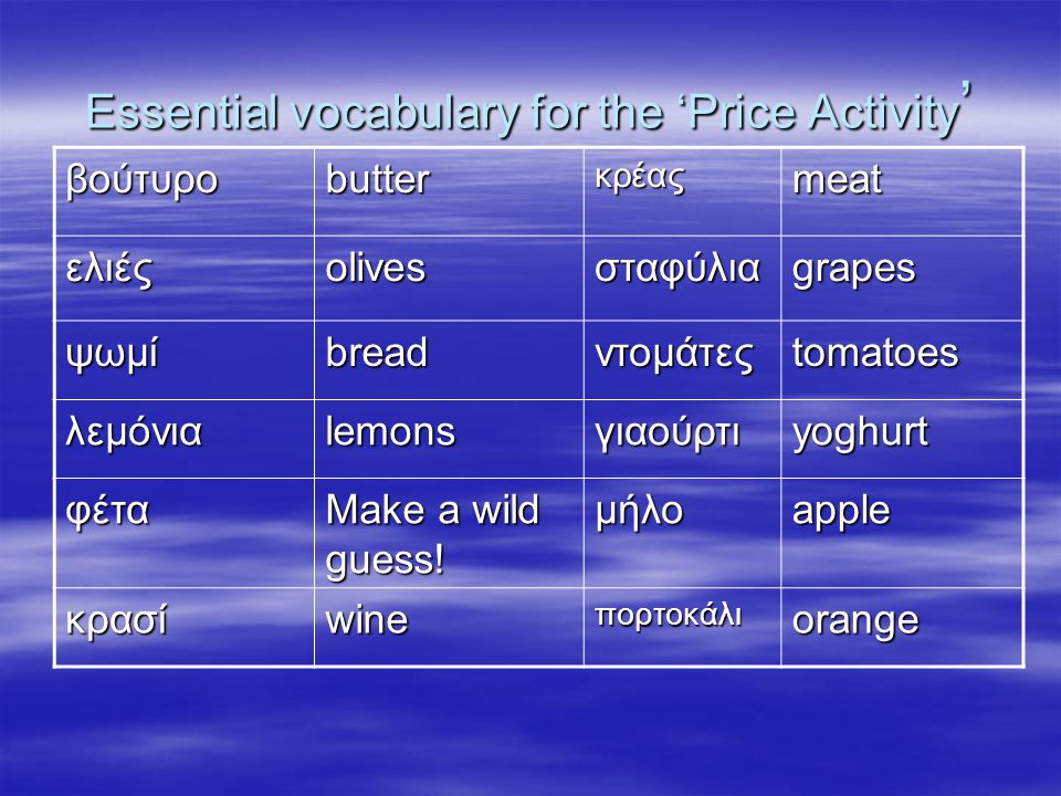 Essential vocabulary for the 'Price Activity ' βούτυροbutterκρέαςmeat ελιέςolivesσταφύλιαgrapes ψωμίbreadντομάτεςtomatoes λεμόνιαlemonsγιαούρτιyoghurt φέτα Make a wild guess.