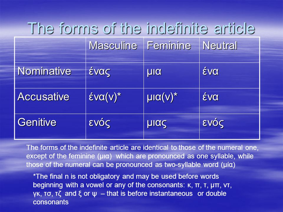 The forms of the indefinite article MasculineFeminineNeutral Nominativeέναςμιαένα Accusativeένα(ν)*μια(ν)*ένα Genitiveενόςμιαςενός The forms of the indefinite article are identical to those of the numeral one, except of the feminine (μια) which are pronounced as one syllable, while those of the numeral can be pronounced as two-syllable word (μία) *The final n is not obligatory and may be used before words beginning with a vowel or any of the consonants: κ, π, τ, μπ, ντ, γκ, τσ, τζ and ξ or ψ – that is before instantaneous or double consonants
