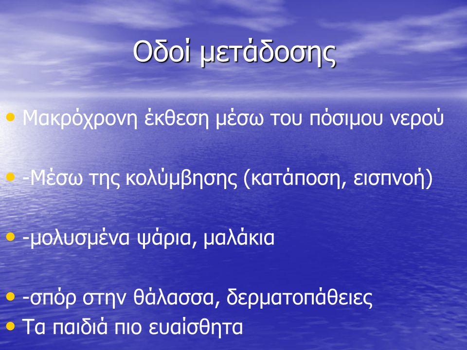 Οδοί μετάδοσης • • Μακρόχρονη έκθεση μέσω του πόσιμου νερού • • -Μέσω της κολύμβησης (κατάποση, εισπνοή) • • -μολυσμένα ψάρια, μαλάκια • • -σπόρ στην