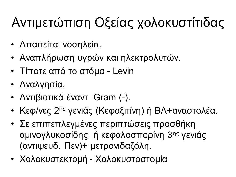 Αντιμετώπιση Οξείας χολοκυστίτιδας •Απαιτείται νοσηλεία. •Αναπλήρωση υγρών και ηλεκτρολυτών. •Τίποτε από το στόμα - Levin •Αναλγησία. •Αντιβιοτικά ένα