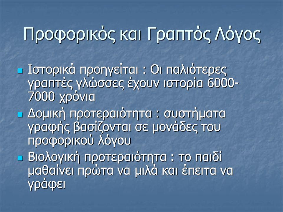Προφορικός και Γραπτός Λόγος  Ιστορικά προηγείται : Οι παλιότερες γραπτές γλώσσες έχουν ιστορία 6000- 7000 χρόνια  Δομική προτεραιότητα : συστήματα