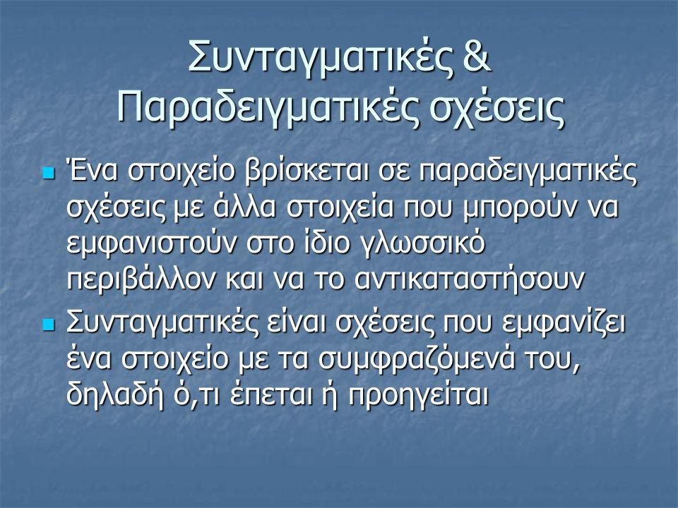 Συνταγματικές & Παραδειγματικές σχέσεις  Ένα στοιχείο βρίσκεται σε παραδειγματικές σχέσεις με άλλα στοιχεία που μπορούν να εμφανιστούν στο ίδιο γλωσσ