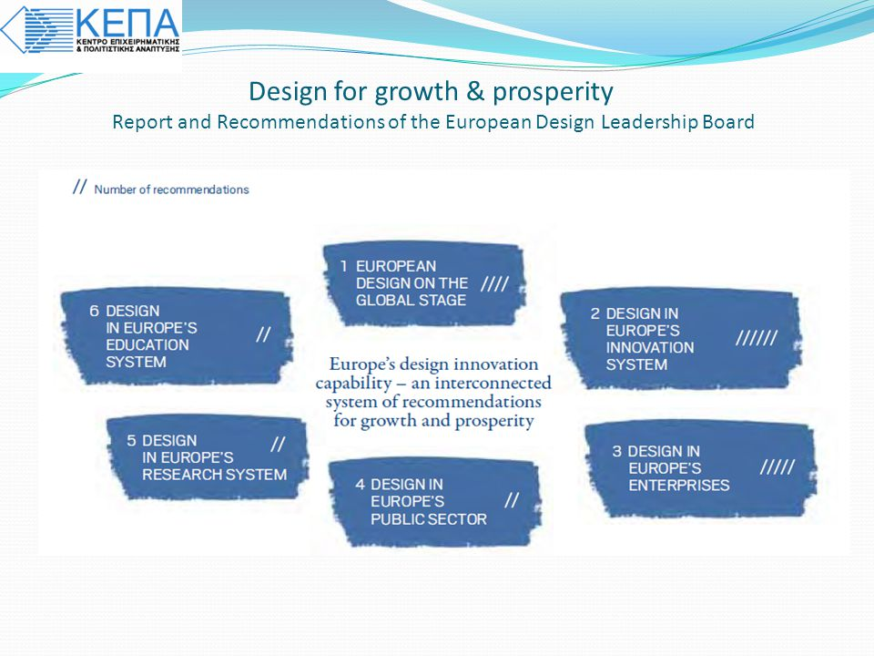 Design for growth & prosperity Report and Recommendations of the European Design Leadership Board Tο SEE Platform είναι ένα δίκτυο από Ευρωπαϊκούς φορ