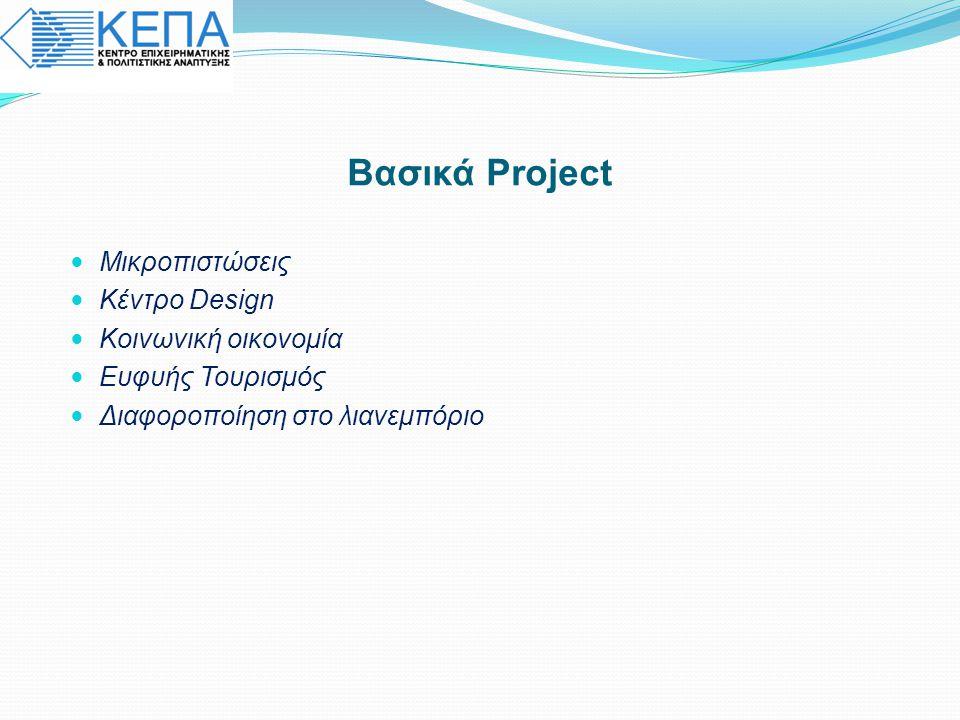 Λειτουργίες Κέντρου :  Council : Χάραξη στρατηγικών-πολιτικών  Incubator: Στέγαση μικρών επιχειρήσεων + υπηρεσίες δικτύωσης και συμβουλευτικής  Training: Εκπαίδευση σχεδιαστών και επιχειρηματιών + συνεργασία με εκπαιδευτικά ιδρύματα + ανάπτυξη εργαλείων design  Services: Προφίλ σχεδιαστών + mentoring + outsourcing R&D + matching  Promotion: Εκθέσεις + προωθητικές ενέργειες