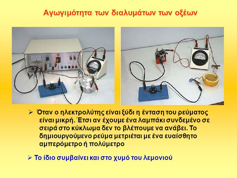Aγωγιμότητα των διαλυμάτων των οξέων  Όταν ο ηλεκτρολύτης είναι ξύδι η ένταση του ρεύματος είναι μικρή. Έτσι αν έχουμε ένα λαμπάκι συνδεμένο σε σειρά