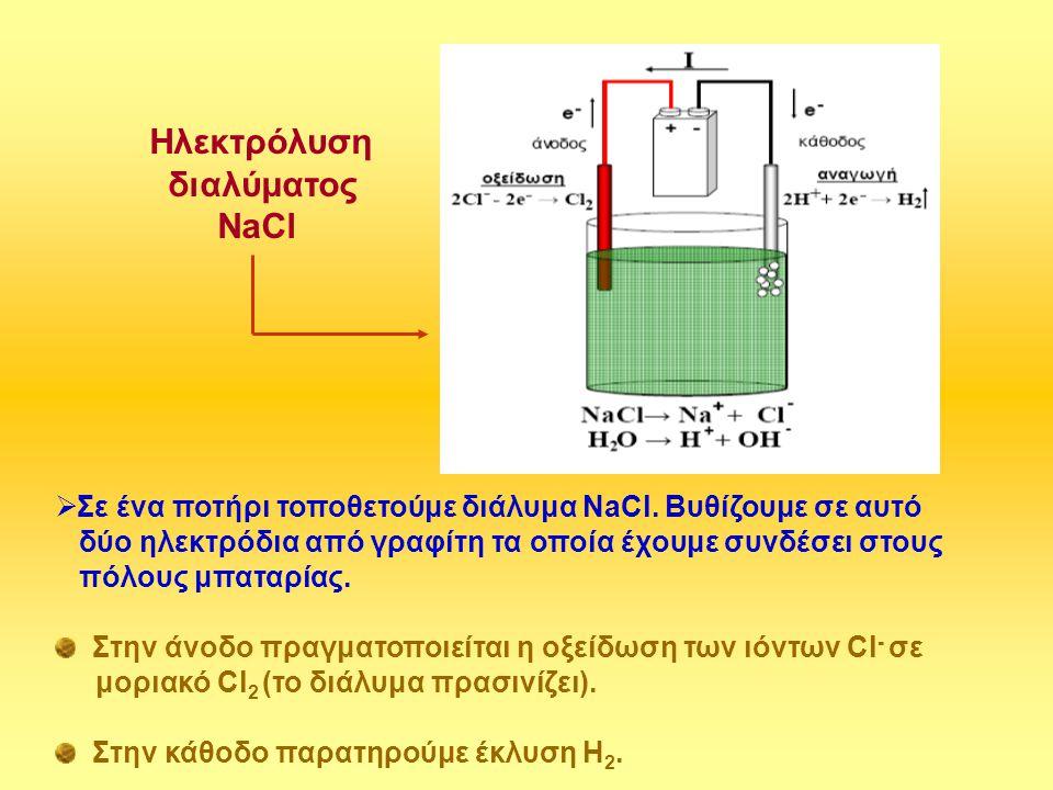  Σε ένα ποτήρι τοποθετούμε διάλυμα ΝaCl. Βυθίζουμε σε αυτό δύο ηλεκτρόδια από γραφίτη τα οποία έχουμε συνδέσει στους πόλους μπαταρίας. Στην άνοδο πρα
