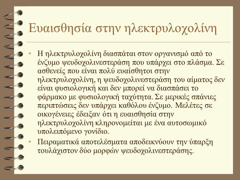 Ευαισθησία στην ηλεκτρυλοχολίνη •Η ηλεκτρυλοχολίνη διασπάται στον οργανισμό από το ένζυμο ψευδοχολινεστεράση που υπάρχει στο πλάσμα. Σε ασθενείς που ε
