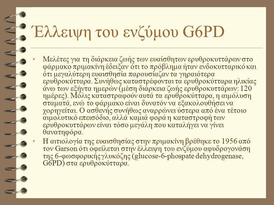 Έλλειψη του ενζύμου G6PD •Μελέτες για τη διάρκεια ζωής των ευαίσθητων ερυθροκυττάρων στο φάρμακο πριμακίνη έδειξαν ότι το πρόβλημα ήταν ενδοκυτταρικό