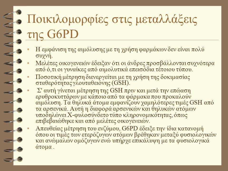 Ποικιλομορφίες στις μεταλλάξεις της G6PD •Η εμφάνιση της αιμόλυσης με τη χρήση φαρμάκων δεν είναι πολύ συχνή. •Μελέτες οικογενειών έδειξαν ότι οι άνδρ